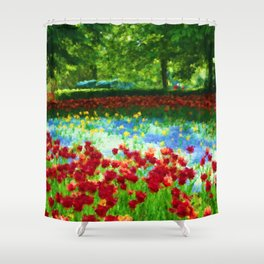 Colorful Impressionist Flower Field - II Shower Curtain
