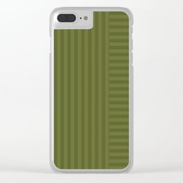 Olive striped pattern 2 Clear iPhone Case