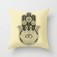 hamsa Throw Pillows featuring Hamsa by Joel Amat Güell