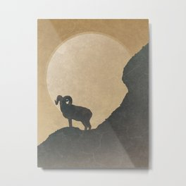 Wild Ram Sunset: Rustic Mountain Landscape Metal Print