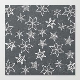 Snowflakes on grey background Canvas Print