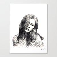 karen hallion Canvas Prints featuring Karen Gillan by Chloé Arros