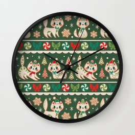 Striped Gingerbread Kitties (Green) Wall Clock