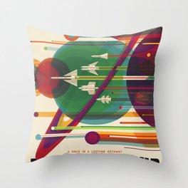 Retro Space Poster - The Grand Tour Poster Throw Pillow
