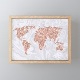 Rose Gold Glitter World Map on White Marble Framed Mini Art Print
