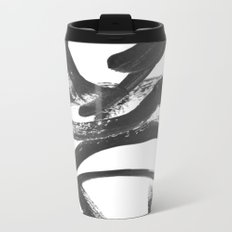 Interlock black and white paint swirls Metal Travel Mug