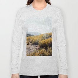 vintage style yellow poppy flower field with summer sunlight Long Sleeve T-shirt
