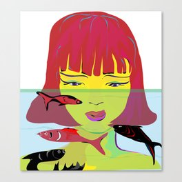 """Redhead Worry"" Paulette Lust's Original, Contemporary, Whimsical, Colorful Art Canvas Print"