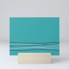 Alabaster, Pastel Gray and Navy Blue Solid Color Scribble Lines Stripes Bottom Minimal Design on Aqua Teal Turquoise  - Aquarium SW 6767 Mini Art Print