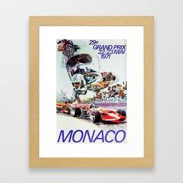 Gran Prix de Monaco, 1971, original vintage poster Framed Art Print