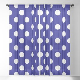 POLKA DOT (WHITE & NAVY) Sheer Curtain