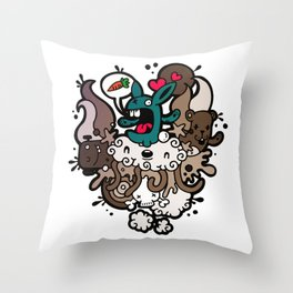 Rabbit Nightmare! Throw Pillow