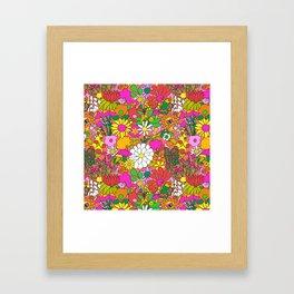 60's Groovy Garden in Neon Peach Coral Framed Art Print