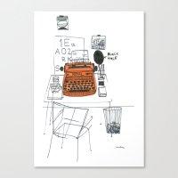 typewriter Canvas Prints featuring Typewriter by k.a.r.o.l.inka