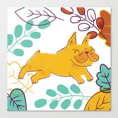 Happy Fall, Dogs! (Frenchie) Canvas Print