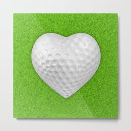 Golf ball heart / 3D render of heart shaped golf ball Metal Print
