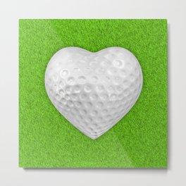 Golf ball heart / 3D render of heart shaped golf ball Metal Print