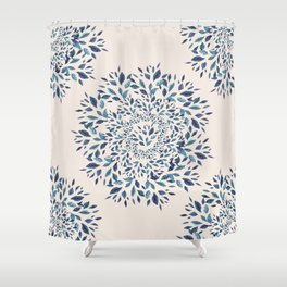 Indigo Leaves Mandala Shower Curtain