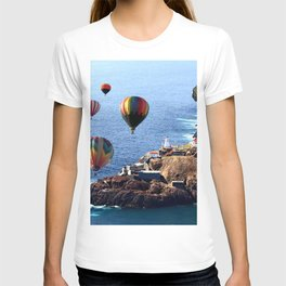 Flying Colorful Hot air Balloons over Newfoundland T-shirt