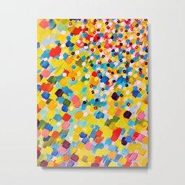 SWEPT AWAY 2 - Vibrant Colorful Rainbow Mango Yellow Waves Mermaid Splash Abstract Acrylic Painting Metal Print