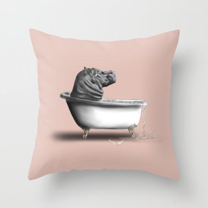 Hippo in Bath Deko-Kissen