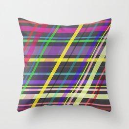Purple Yellow Green Blue Summer Fun Trippy Crossing Lines Throw Pillow