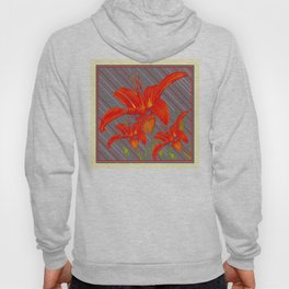 Red Abstracted Day Lilies On Grey Striped Art Hoody