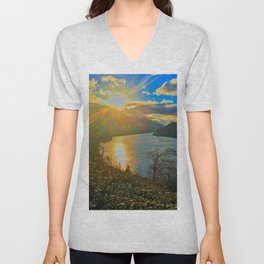 Columbia River Gorge, Sunset Unisex V-Neck