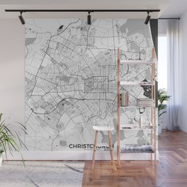 Christchurch Map Gray Wall Mural