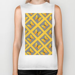 GOLDEN BUTTERFLIES GREY LATTICE  DESIGN Biker Tank