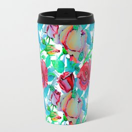 Modern hand painted red teal green watercolor roses floral Travel Mug