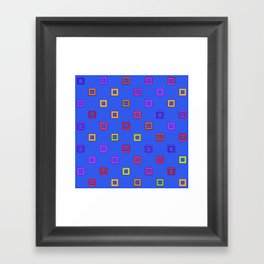 3d squares on a blue background Framed Art Print