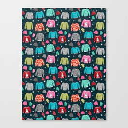 Winter Sweater weather festive holiday snowflakes snow day fun sledding Canvas Print