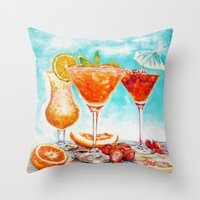cocktail Throw Pillows featuring cocktail by LiliyaChernaya