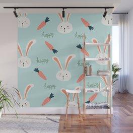 Hand drawn bunny pattern Wall Mural