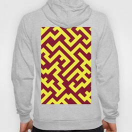 Electric Yellow and Burgundy Red Diagonal Labyrinth Hoody