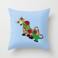 roller derby Throw Pillows featuring Roller Derby Dinosaurs by Jez Kemp