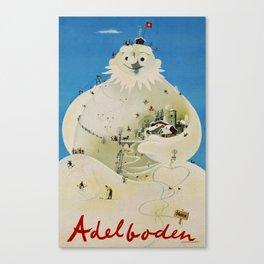 Vintage Adelboden Switzerland Travel Poster - Snowman Canvas Print