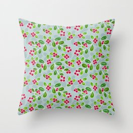 Cranberry Fruit Pattern on Blue-Grey Throw Pillow