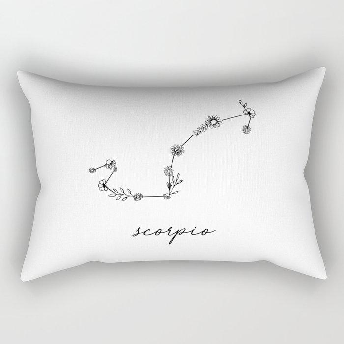 Scorpio Floral Zodiac Constellation Rectangular Pillow