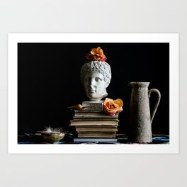 Still Life with Bust and Flowers Art Print