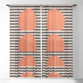 Abstraction_SUNSET_LINE_ART_Minimalism_001 Sheer Curtain