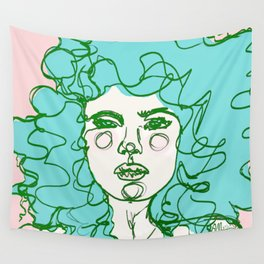 Turquoise Mermaid Curls Wall Tapestry