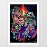 guardians of the galaxy Art Prints featuring Guardians of the Galaxy by Max Grecke