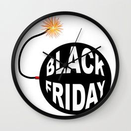 Black Friday Bomb And Lit Fuse Wall Clock