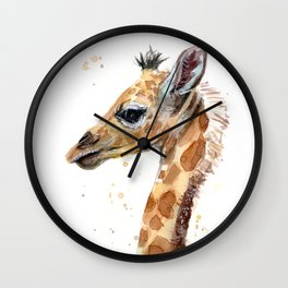 Giraffe Watercolor Cute Baby Animals Whimsical Art Wall Clock