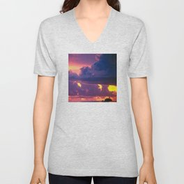 Purple Sunset Over Tiny Island in Micronesia Unisex V-Neck
