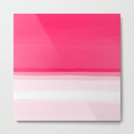 Pink Ombre Seascape Illustration Metal Print