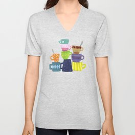 Coffee And Tea Cups And Mugs Stacked High Unisex V-Neck