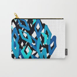 Chaotic Diamond Pattern in Blues Carry-All Pouch